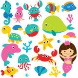 逗人喜爱的海洋动物剪贴美术集合 库存图片