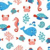 逗人喜爱的海洋动物无缝的样式 库存例证