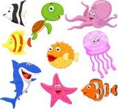 逗人喜爱的海洋生活动画片收藏 库存例证