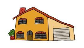 逗人喜爱的淡黄色房子 库存例证