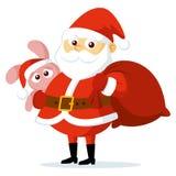 逗人喜爱的滑稽的动画片圣诞老人项目导航例证 库存图片