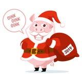 逗人喜爱的滑稽的动画片圣诞老人项目猪传染媒介例证 库存照片