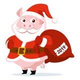 逗人喜爱的滑稽的动画片圣诞老人项目猪传染媒介例证 免版税库存照片