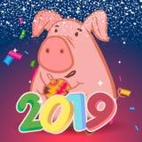 2019年新年快乐 金子贺卡数字设计 金光亮的样式 与2019个数字的新年图片