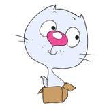 逗人喜爱的漫画人物猫 坐在箱子的小猫 免版税库存图片