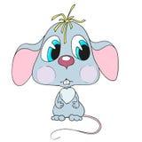 逗人喜爱的漫画人物老鼠 哀伤的小的老鼠 免版税库存图片