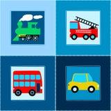 逗人喜爱的火车公共汽车汽车和消防车儿童无缝的样式 免版税库存图片
