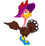 逗人喜爱的火鸡动画片佩带的帽子 免版税库存照片