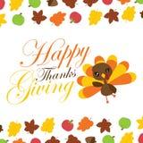 逗人喜爱的火鸡女孩说感恩` s天卡片设计的愉快的感恩动画片例证 库存图片