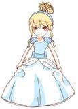 逗人喜爱的灰姑娘蓝色礼服 传染媒介例证白色背景 库存例证