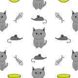 逗人喜爱的灰色动画片猫 碗,鱼骨,老鼠玩具 滑稽的微笑的字符 被隔绝的等高 无缝的样式白色背景 f 免版税图库摄影