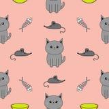 逗人喜爱的灰色动画片猫 碗,鱼骨,老鼠玩具 滑稽的微笑的字符 被隔绝的等高 无缝的样式桃红色背景 Fl 库存照片