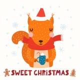 逗人喜爱的灰鼠圣诞卡片 皇族释放例证
