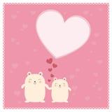 逗人喜爱的熊和大心脏 免版税库存照片