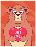 逗人喜爱的熊在它的爪子保留心脏 向量例证