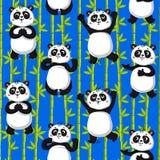 逗人喜爱的熊猫和竹子 库存例证
