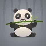 逗人喜爱的熊猫咬竹子 库存例证