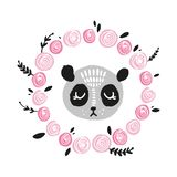逗人喜爱的熊猫面孔 斯堪的纳维亚样式例证,象 皇族释放例证
