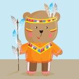 逗人喜爱的熊用北美印地安人的方式 向量 库存图片
