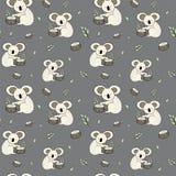 逗人喜爱的熊考拉乱画无缝的样式 与考拉的传染媒介背景可以为婴孩纺织品,T恤杉,墙纸,海报a使用 库存例证