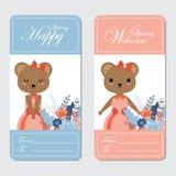 逗人喜爱的熊适用于春天卡片设计 免版税库存图片