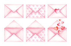 逗人喜爱的爱消息桃红色信封 额嘴装饰飞行例证图象其纸部分燕子水彩 库存图片