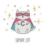 逗人喜爱的特级英雄猫 向量例证