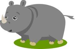 逗人喜爱的犀牛徒步旅行队向量 免版税库存图片