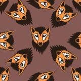 逗人喜爱的狐狸无缝的样式动画片图表传染媒介 无缝的样式可以为墙纸,样式积土,网页背景使用 库存图片
