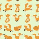 逗人喜爱的狐狸无缝的样式 狡猾的不尽的背景,纹理 儿童` s背景 也corel凹道例证向量 库存照片