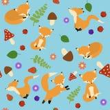 逗人喜爱的狐狸无缝的样式 狡猾的不尽的背景,纹理 儿童` s背景 也corel凹道例证向量 免版税库存图片