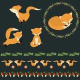 逗人喜爱的狐狸模板 花和莓果花圈 自然边界 免版税库存图片