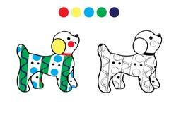 逗人喜爱的狗一点 颜色,黑白 库存例证
