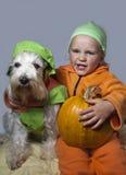 逗人喜爱的狗和孩子用南瓜 免版税库存照片