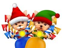 逗人喜爱的狗圣诞老人和矮子运载在滑行车的烟花 库存图片