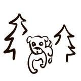 逗人喜爱的狗头线艺术图画 皇族释放例证