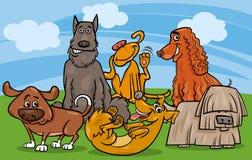 逗人喜爱的狗小组动画片例证 免版税库存照片