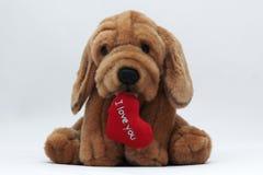 逗人喜爱的狗重点我爱被充塞的文本&# 库存图片