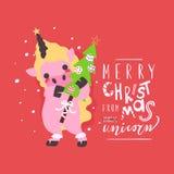 逗人喜爱的独角兽圣诞节背景,卡片 与圣诞树的滑稽的小的婴孩独角兽 免版税库存图片