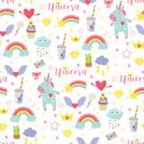 逗人喜爱的独角兽婴孩传染媒介无缝的样式背景例证不可思议的彩虹幻想神仙的设计美好的童话 库存例证