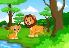 逗人喜爱的狮子动画片在森林里 免版税库存图片