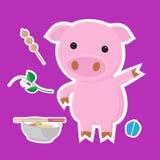 逗人喜爱的猪动画片贴纸在蓝色背景设置了 免版税图库摄影