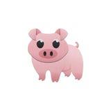 逗人喜爱的猪是动物动画片在纸裁减农场  库存图片