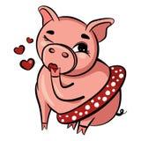 逗人喜爱的猪送飞吻 与眼睛的桃红色猪闪光 肥胖成人猪在短裙坐 查出的向量例证 图库摄影