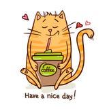 逗人喜爱的猫咖啡休息2 库存照片