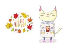 逗人喜爱的猫在与叶子和行情的秋天 向量例证