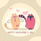 逗人喜爱的猫夫妇在爱向量例证的 免版税库存图片