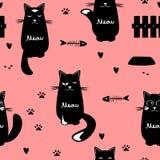 逗人喜爱的猫无缝的样式 库存例证