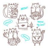 逗人喜爱的猫设置了2 免版税库存照片