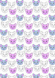 逗人喜爱的猫重复样式 免版税库存照片